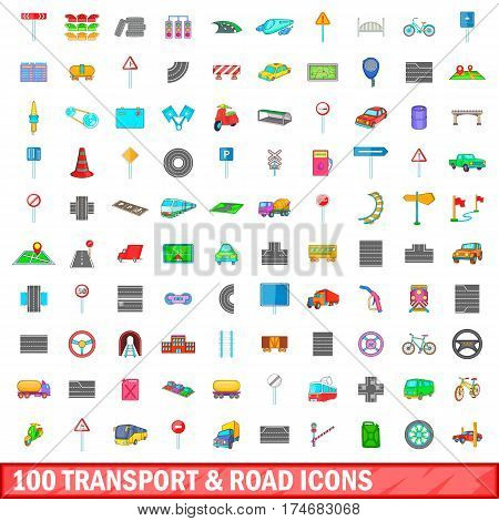 100 transport and road icons set in cartoon style for any design vector illustration