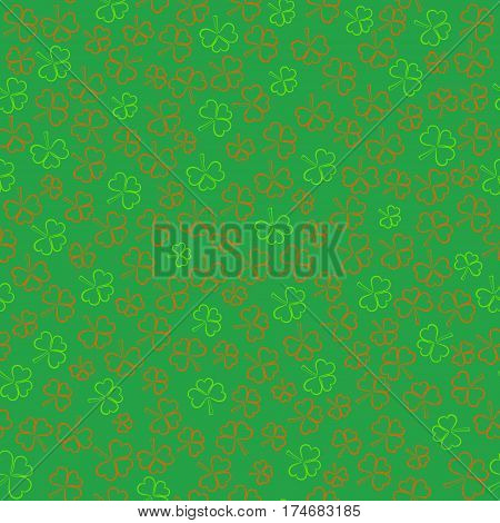 Seamless Pattern with Contour Shamrocks made in Ireland Flag Color on the Green Backdrop. St.Patricks Day Background. Vector EPS 10