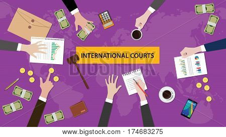 international courts concept discussion in a meeting with paperworks, money, coins and judge hammer on top of the table vector