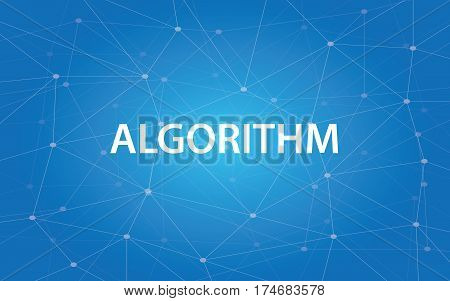 algorithm white text illustration with blue constellation as background vector