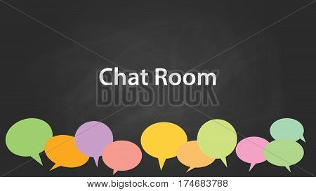 chat room white text illustration with colourful empty callouts and black background vector