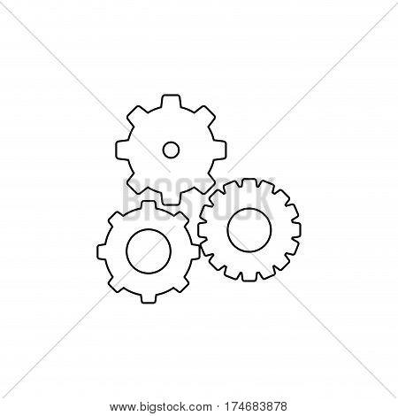 black contour with pinions set vector illustration