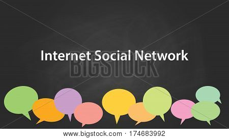 internet social network white text illustration with colourful empty callouts and black background vector