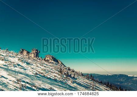 Large stone formations on the slope of Szrenica mountain, Karkonosze, Poland