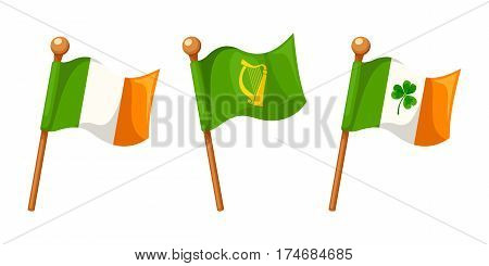 Vector set of Irish Flag, Irish Flag with shamrock and Leinster Province Flag isolated on a white background.