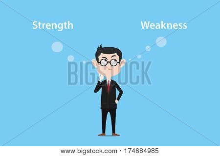 illustration of a man thinking about strength or weakness with white text and blue background vector