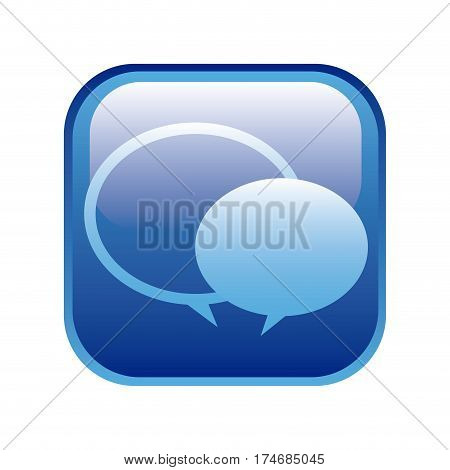 blue square frame with speech bubbles vector illustration