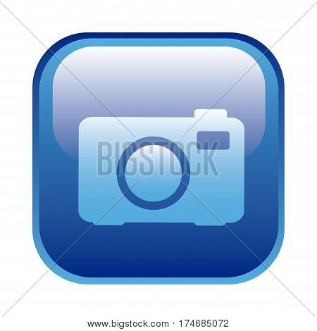 blue square frame with analog camera icon vector illustration