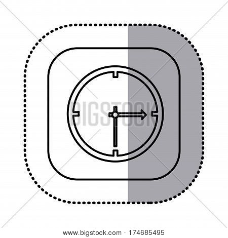 monochrome contour with square sticker of wall clock icon vector illustration