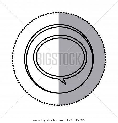 monochrome contour with circle sticker of speech bubble icon vector illustration