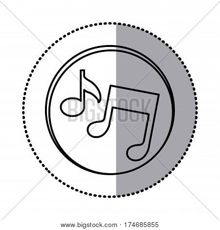 monochrome contour with circle sticker of musical notes vector illustration