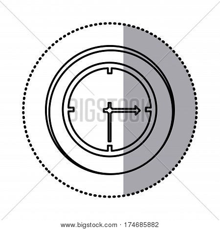 monochrome contour with circle sticker of wall clock icon vector illustration