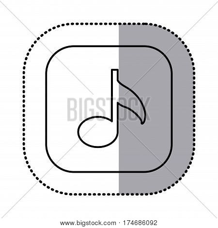 monochrome contour with square sticker of musical note icon vector illustration