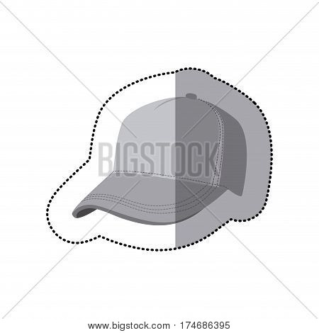sticker grayscale silhouette with baseball cap vector illustration