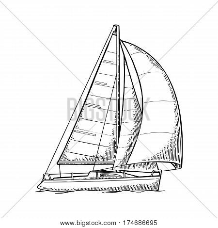 Sailing ship with wave isolated on white background. Vector vintage black engraving illustration. Hand drawn in a graphic style. For yacht club.