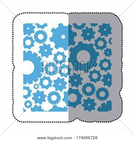 sticker color pattern with gears and pinions vector illustration