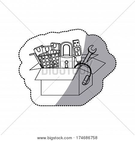 sticker monochrome contour with box obsolete objects vector illustration