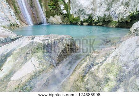detail from Nidri waterfalls on Lefkada island in Greece