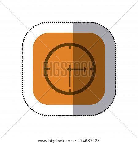 sticker color square with wall clock icon vector illustration