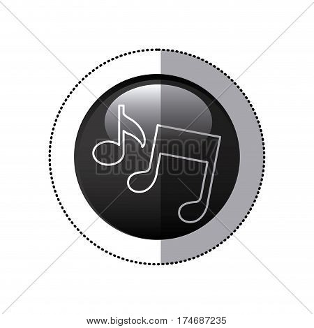 sticker black circular frame with musical notes vector illustration