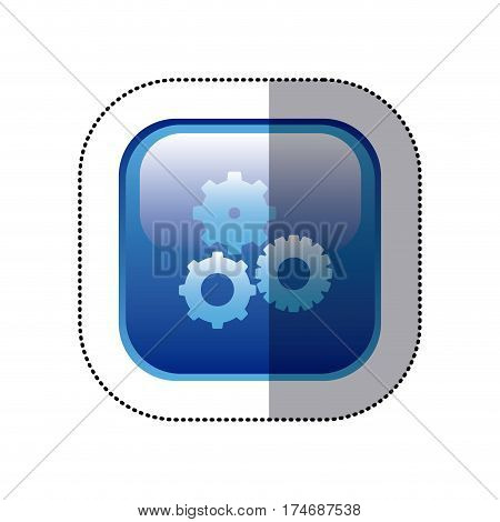 sticker blue square frame with pinions set icon vector illustration