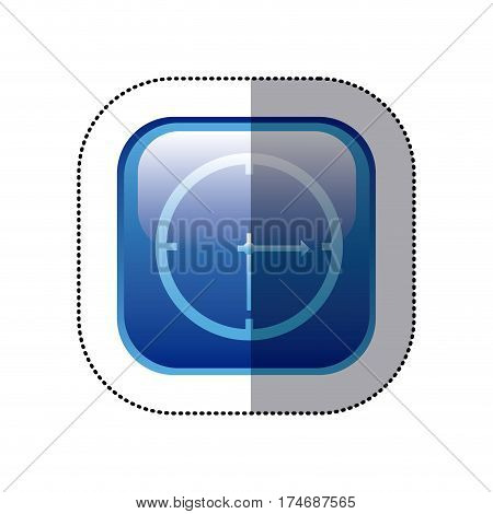 sticker blue square frame with wall clock icon vector illustration
