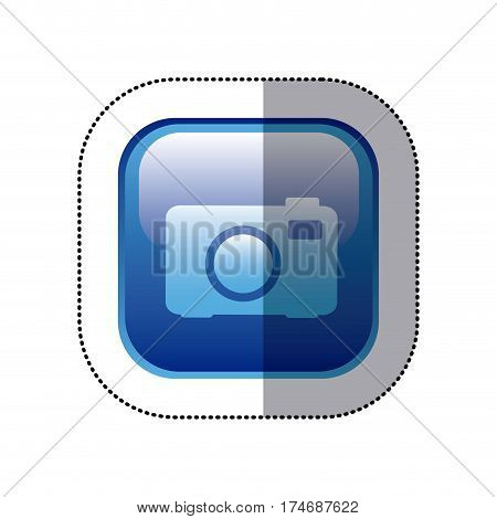 sticker blue square frame with analog camera icon vector illustration