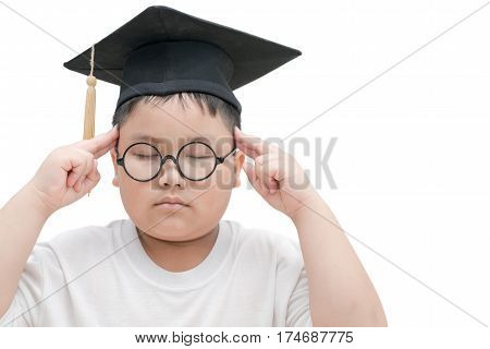 School Kid Graduate Thinking With Graduation Cap Isolated