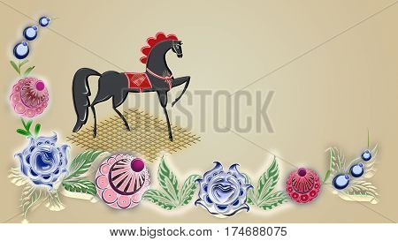 Folk painting of horse can be used in the design textile printing industry in a variety of design projects.
