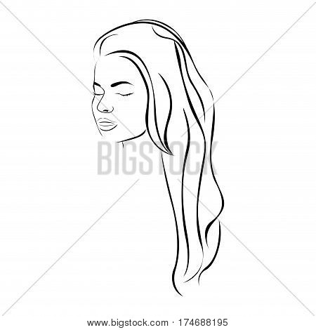 sketch female face sensual silhouette with long hairstyle vector illustration
