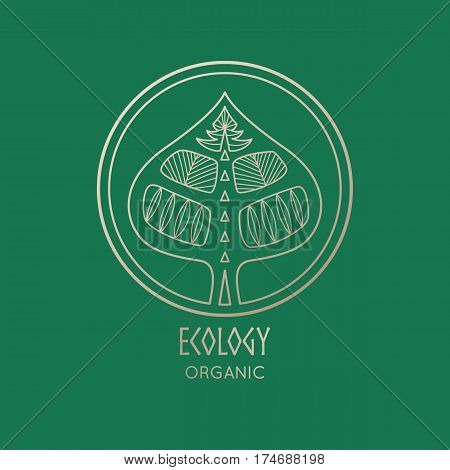 Vector logo element. Abstract  icon of tree. Emblem for design of natural products, organic food, cosmetics, jewelry industry  and global ecology.