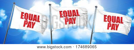 equal pay, 3D rendering, triple flags
