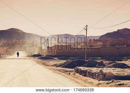Small berber village  in the High Atlas Mountains  in Morocco.  Vintage editing