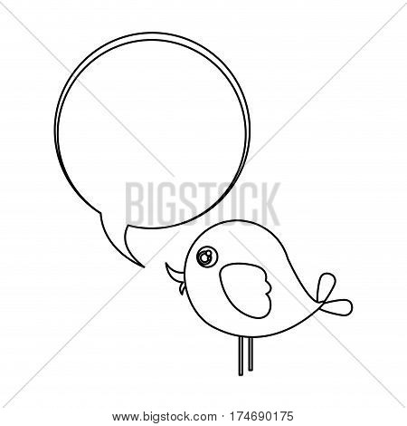 silhouette cute cartoon bird animal icon with dialog bubble icon vector illustration