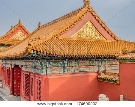 Beijing, China - Oct 30, 2016: Chinese architecture and intricate designs of a gate house near the Gate of Heavenly Purity, or Celestial Purity (Qianqingmen). Forbidden City (Gu Gong, Palace Museum).