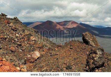 Cinder cone of the North Breakthrough Great Tolbachik Fissure Eruption 1975