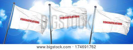 congratulations, 3D rendering, triple flags
