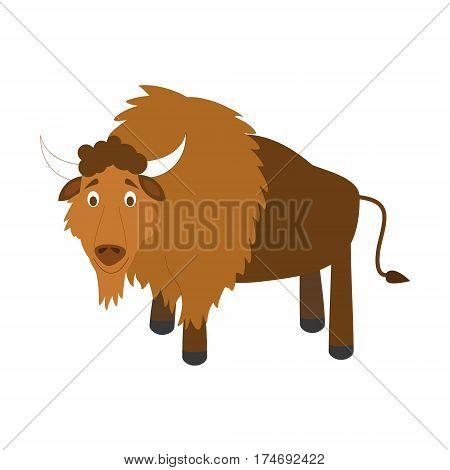 Cute buffalo in cartoon style vector illustration