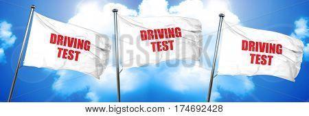 driving test, 3D rendering, triple flags
