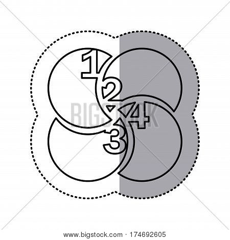 monochrome contour sticker of circular figures with numeration vector illustration