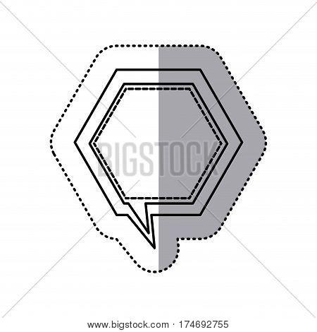 monochrome contour sticker of hexagon frame callout dialogue vector illustration