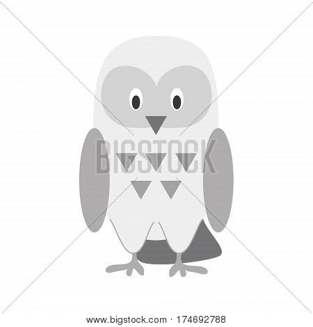 Cute snowy owl in cartoon style vector illustration