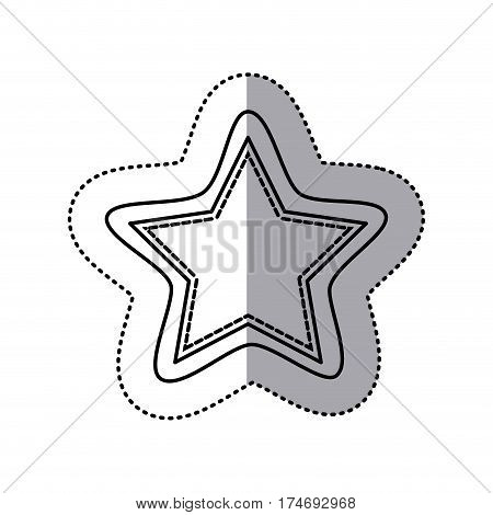 monochrome contour sticker of star shape frame callout dialogue vector illustration