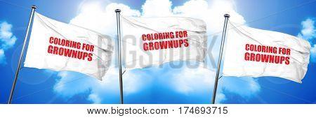 coloring for grownups, 3D rendering, triple flags