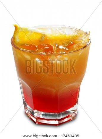 Alcoholic Cocktail made of Campari Bitter and Orange Juice. Isolated on White Background poster