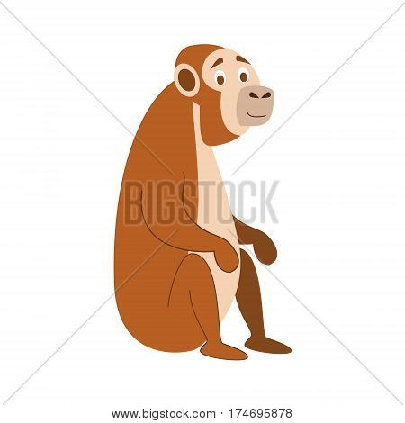Cute monkey in cartoon style vector illustration