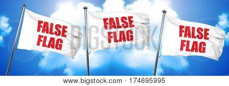 false flag, 3D rendering, triple flags