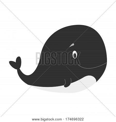 Cute killer whale in cartoon style vector illustration