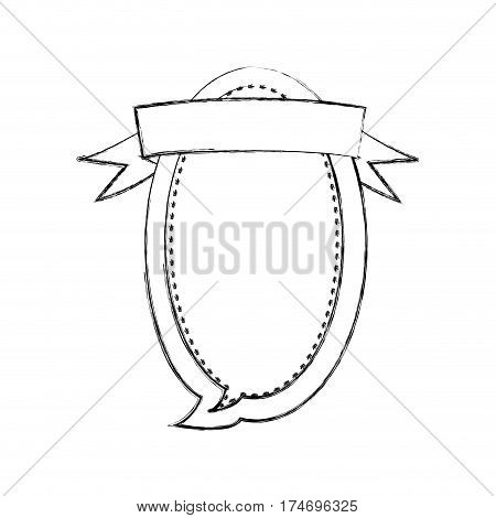monochrome blurred contour of oval balloon dialog box design with ribbon vector illustration