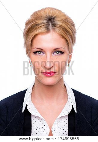Secretary in the office. Portrait of a beautiful young blonde woman in a white blouse on white wall background
